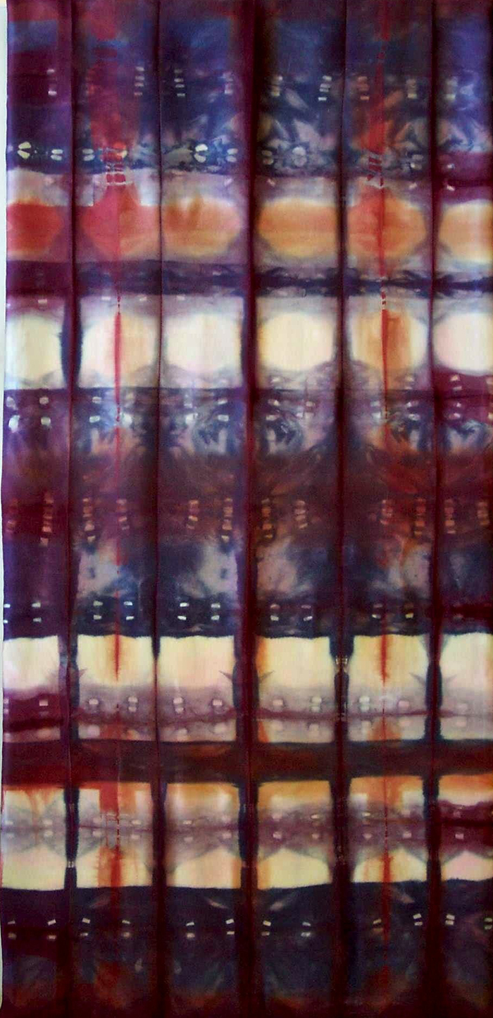 18x48, 2003, fold and clamp shibori, fiber-reactive dyes on silk charmeuse