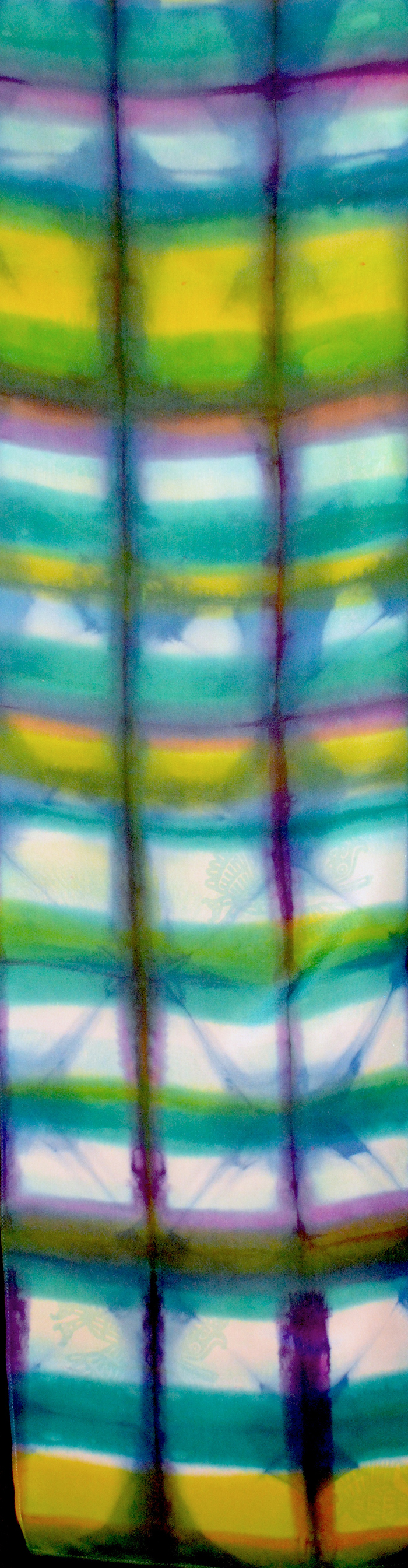 12x60, 2012, fold and clamp shibori, fiber-reactive dyes on crepe de chine