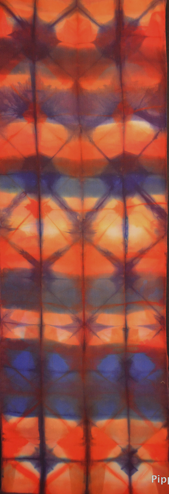 15x72, 2012, fold and clamp shibori, fiber-feactive dyes on crepe de chine