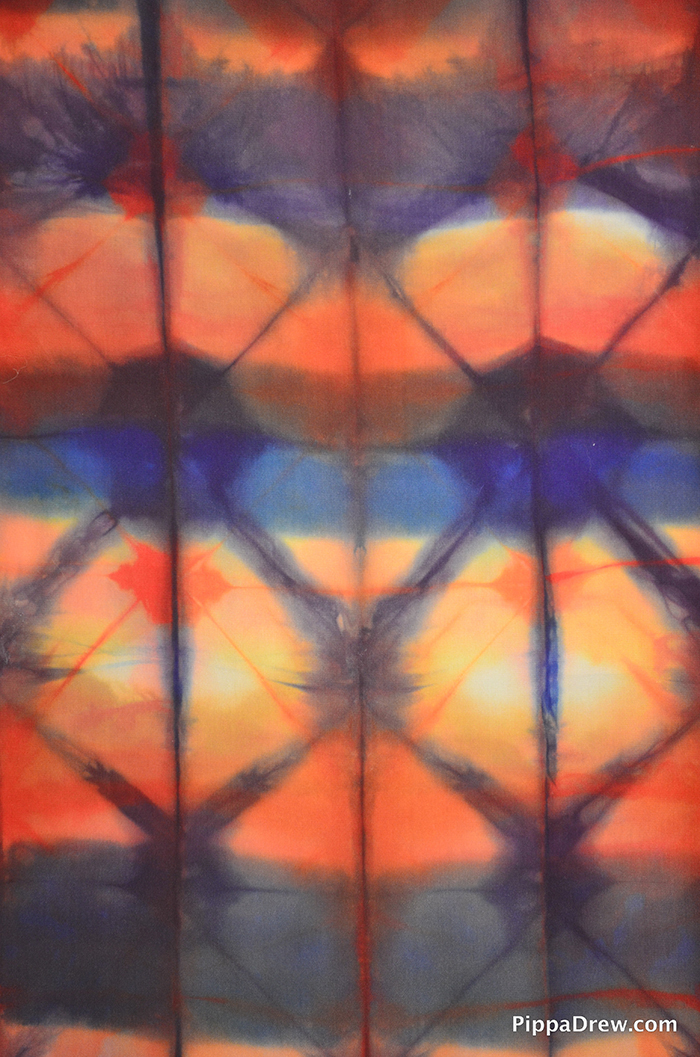detail 15x72, 2012, fold and clamp shibori, fiber-reactive dyes on crepe de chine