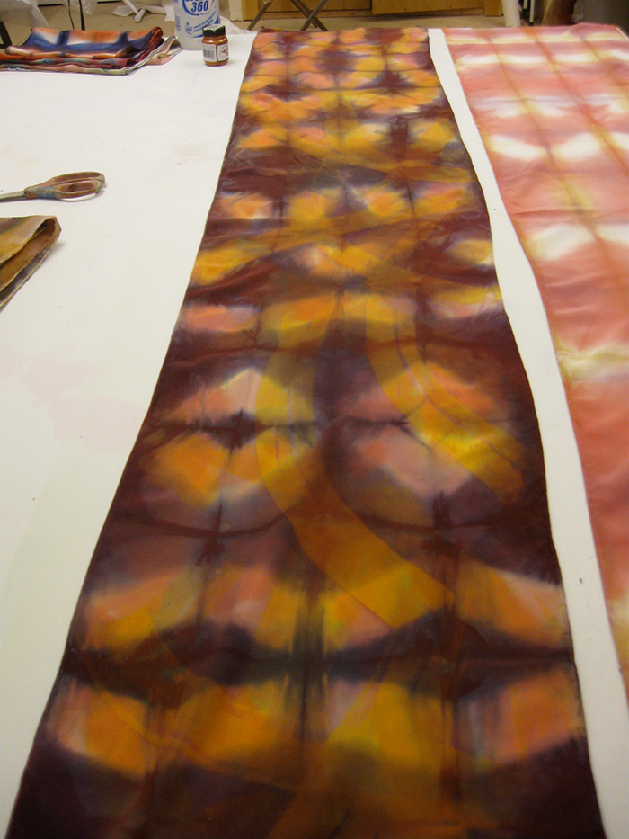 15x72, 2012, fold and clamp shibori, fiber-reactive dyes on crepe de chine