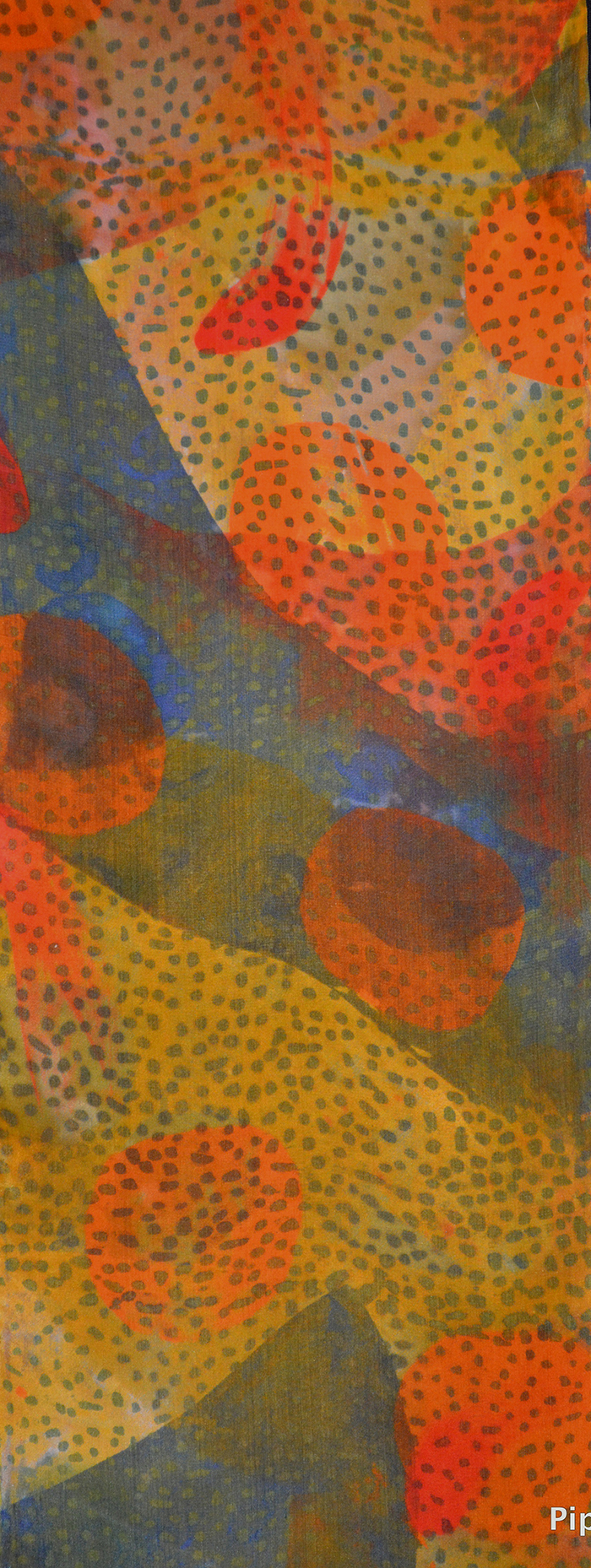 detail 8x54, 2012, fiber-reactive dyes, painted and printed using stencils  and thermofax screens, silk habutai