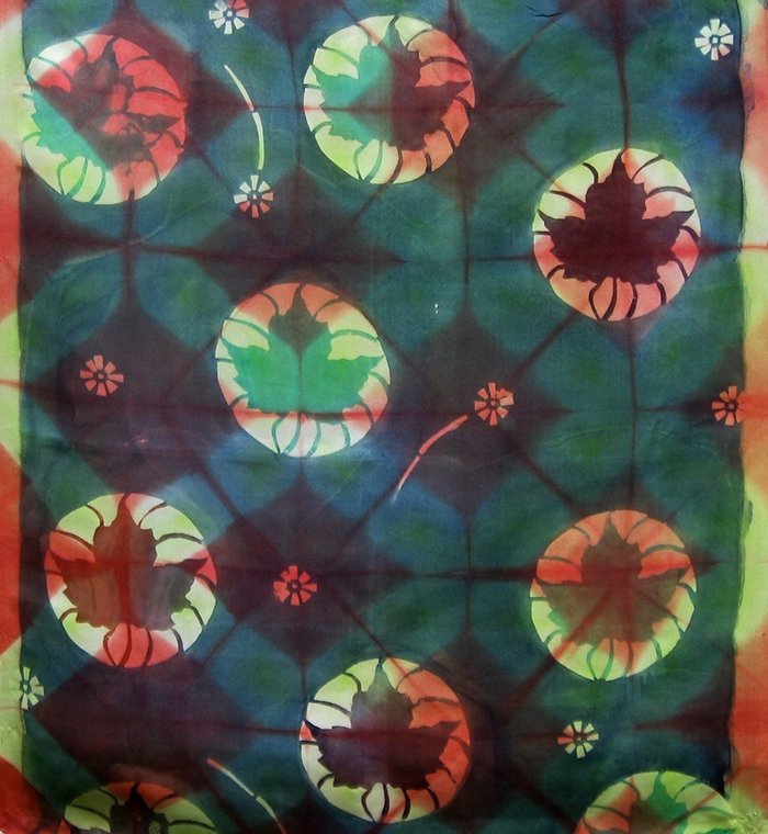 16x18, 2010, Katazome (starch paste stenciling), natural dyes, fold and clamp shibori, fiber-reactive dyes on silk habutai